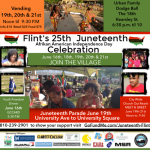 An image detailing event information for the 2015 Juneteenth celebrations in Flint, MI.