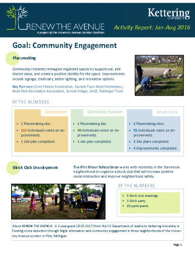 Community Engagement Report (Jan-Aug, 2016)