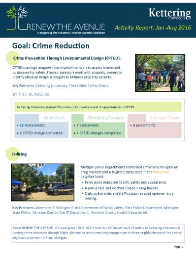 Crime Reduction Report (Jan-Aug, 2016)